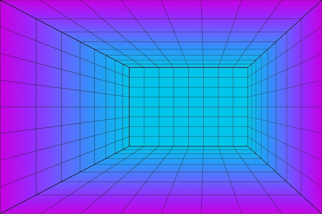 3d grid perspective laser room in technology style. virtual reality tunnel or wormhole. abstract  vaporwave background