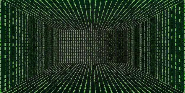 マトリックステクノロジースタイルの3dグリッドパースペクティブルーム。バーチャルリアリティトンネルまたはワームホール。抽象的なバイナリコンピュータコードの背景