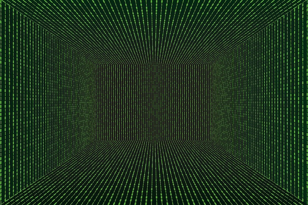 3d grid perspective room in matrix technology style. virtual reality tunnel or wormhole. abstract  binary computer code background
