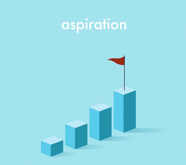 3d growth rising graph in light blue tone with the red flag