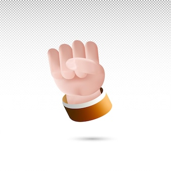 3d hand clenched sign cartoon style on white tranparent background free vector