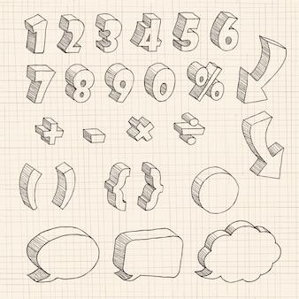 3d рисованной число и диалоговое окно на бумаге.
