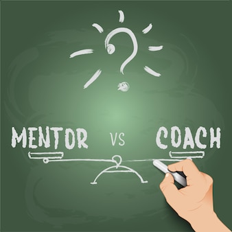 3d hand writing mentor vs coach on blackboard