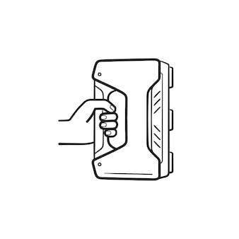 3d 핸드헬드 스캐너 손으로 그린 개요 낙서 아이콘. 3d 모델링, 현대적인 스캐너 장치, 개념