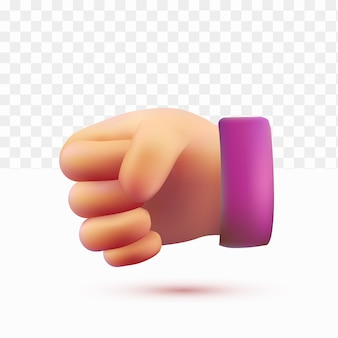 3d hands clenched. rock pose. cartoon style on white tranparent background