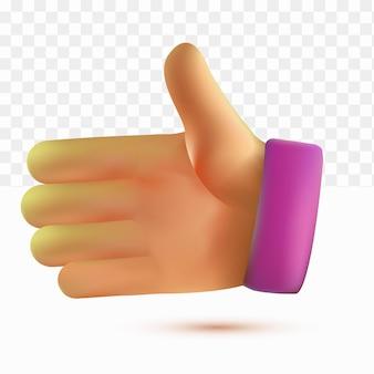 3d hands invite handshake cartoon style on white tranparent background