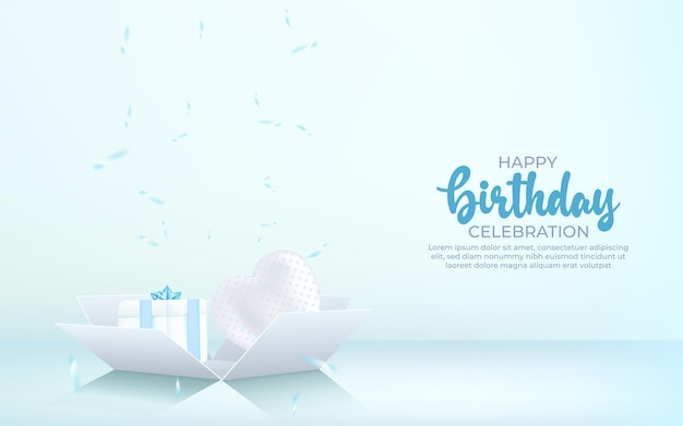3d happy birthday background with gift box, confetti and balloon.