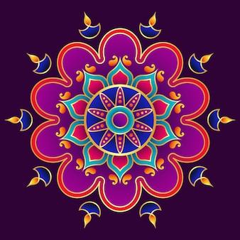 3dハッピーディワリ曼荼羅アート、ランゴーリーデザイン、ディヤ装飾