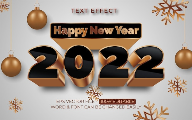 3d happy new year 2022 text effect style editable text effect gold theme