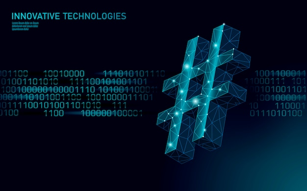 3d hashtag symbol dark blue glowing low poly. communication online social media share search posts. information innovation web technology binary code flow illustration