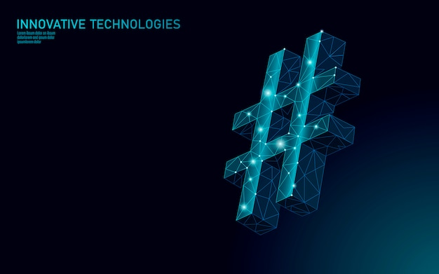 3d hashtag symbol dark blue glowing low poly. communication online social media share search posts. information innovation web technology illustration