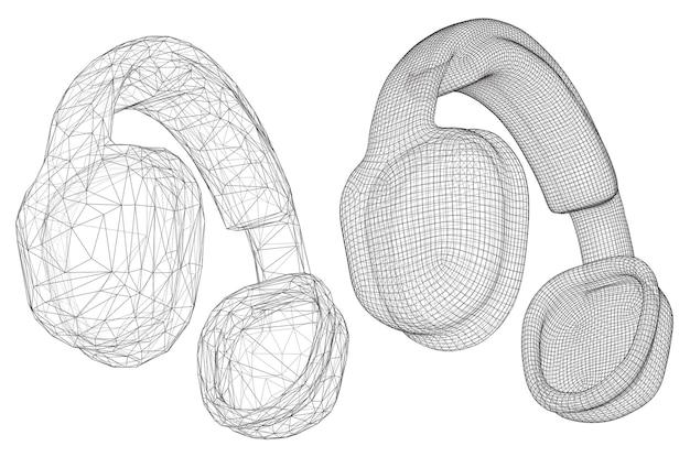3 d ヘッドフォンは、白い背景で隔離。ミュージカルデザイン