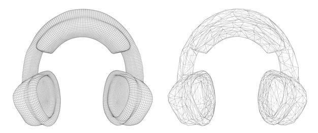 白い背景の音楽デザインで分離された3dヘッドフォン