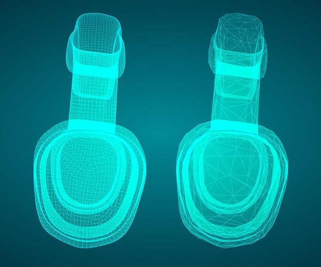 青の背景に 3 d ヘッドフォン。ミュージカルデザイン