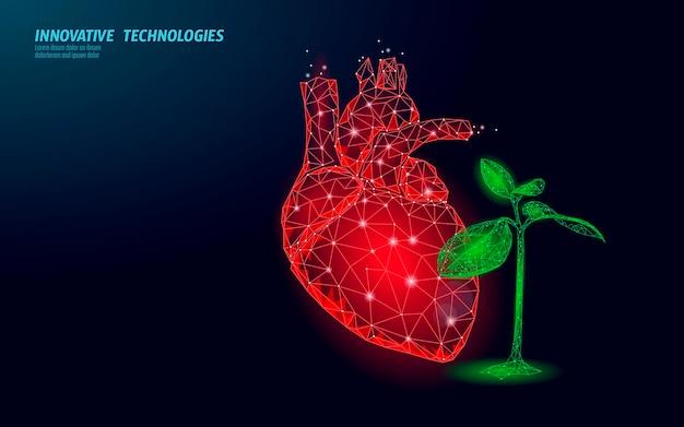 Сердце 3d в зеленых листьях. гармония, чувствуя счастливую концепцию психологии эмоций. психотерапевт душевного равновесия. низкополигональная векторная иллюстрация