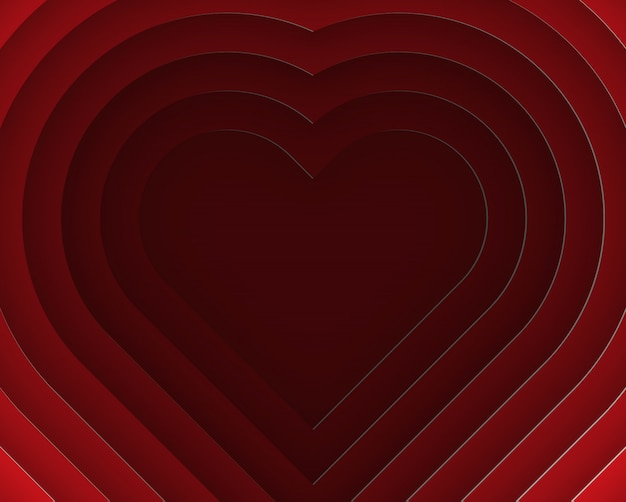 3d heart layer paper cut style vector illustration