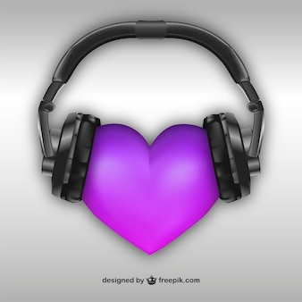 3D Heart with headphones