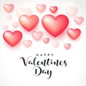 バレンタインデーのための3 dの心の背景