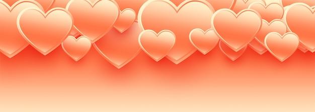幸せなバレンタインデーの3 dハートバナー