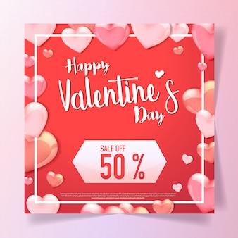 3d hearts frame valentine sale background
