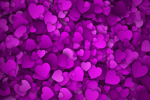 3d hearts violet abstract backdrop