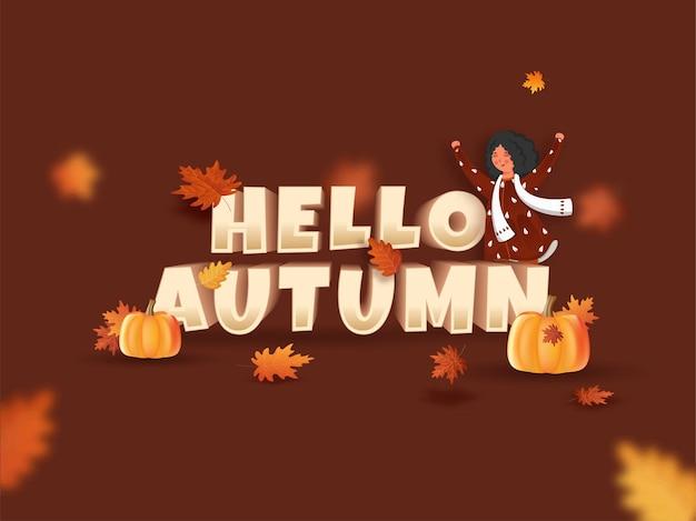 3d 안녕하세요 가을 텍스트 위로 손을 올리는 만화 어린 소녀, 호박, 갈색 배경에 단풍나무 잎.