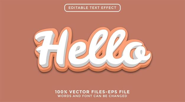 3d привет текст. редактируемый текстовый эффект премиум векторы
