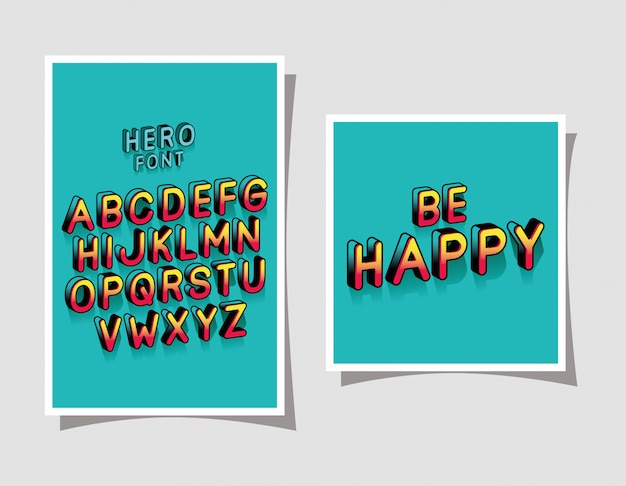 3d hero font lettering and alphabet on blue backgrounds
