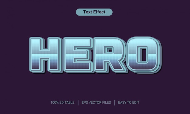 3d hero metal text style effect