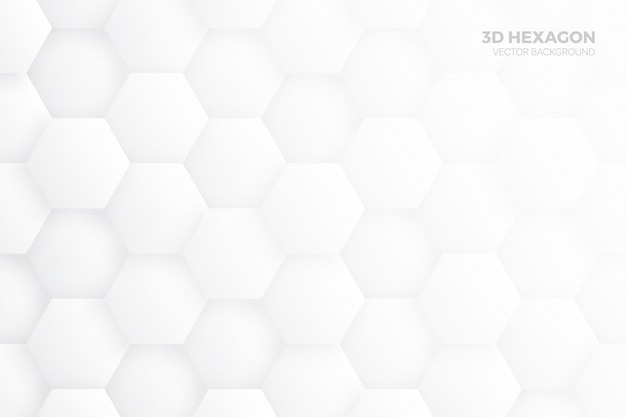 3d hexagon blocks structure white abstract background