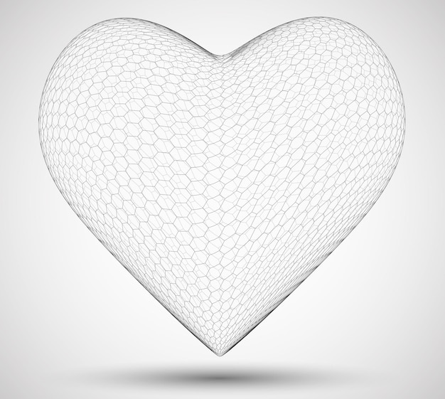 3d 육각형 하트. 컬러 배경. 사랑과 마음의 건강의 상징
