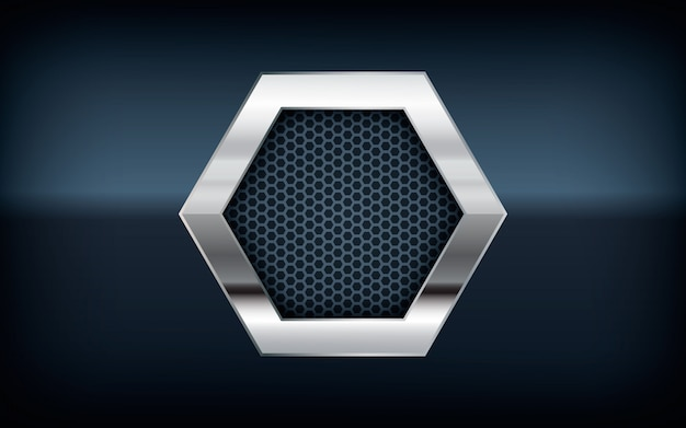 3d hexagon silver list on black background