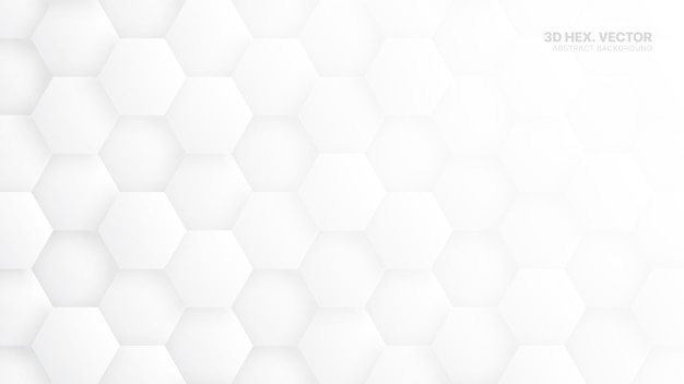 3d  hexagons pattern white abstract background