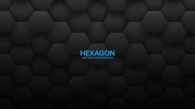 3d hexagons tech abstract black background