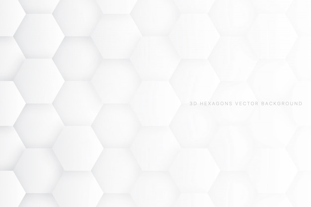 3d hexagons white abstract background