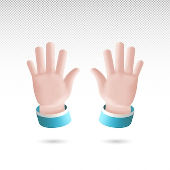 3d high five hand sign cartoon style on  tranparent background free vector