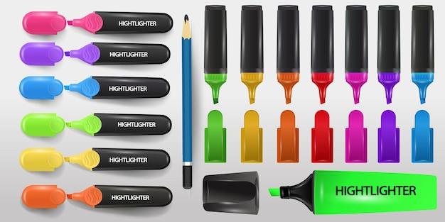 3dハイライター。リアルなブルー、グリーン、ピンク、イエロー、マーカーのセット。孤立した事務用品のカラフルな蛍光ペン。