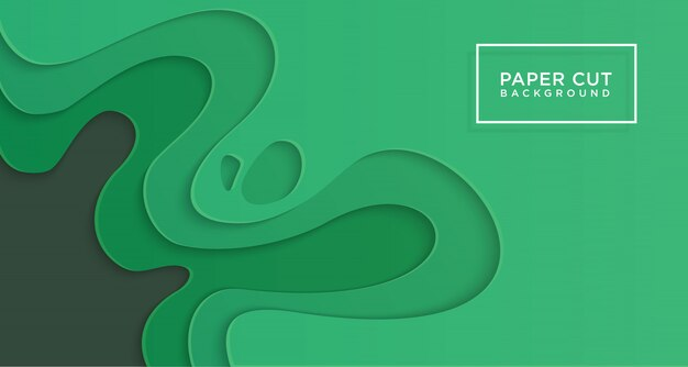 3d horizontal background of green paper cut