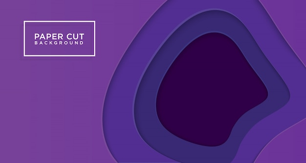 3d horizontal background of purple paper cut