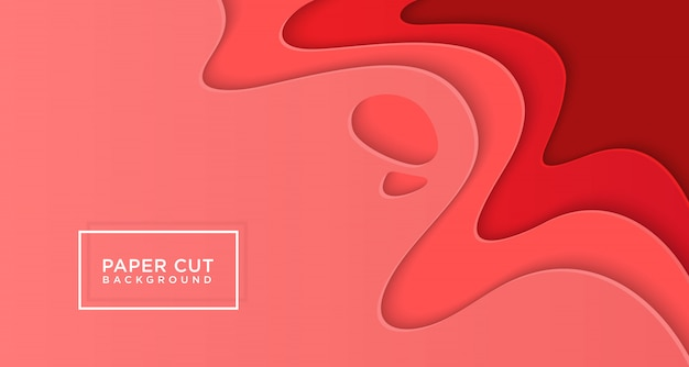 3d horizontal background of red paper cut