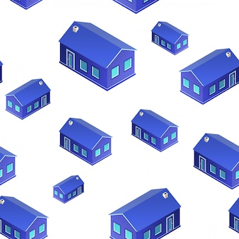 3d houses pattern of seamless