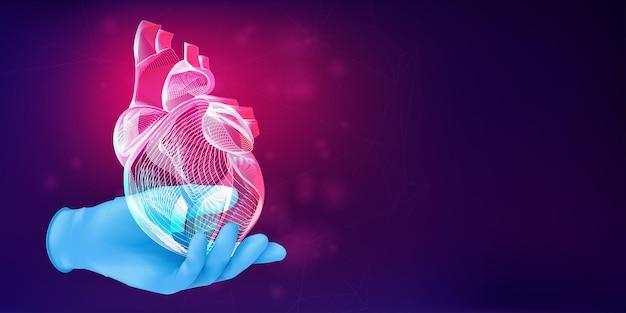 青いゴム手袋で医者の手の3d人間の心臓のシルエット。抽象的な背景に人間の臓器のワイヤーフレームと解剖学的医療の概念。ネオン線画スタイルのベクトル図