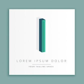 手紙で3d抽象的なスタイルのロゴi