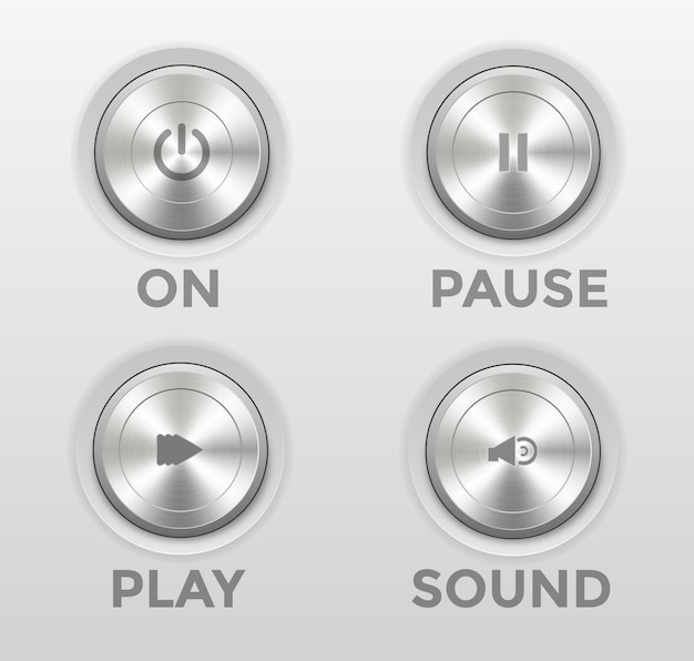 3d icon power button play pause sound mute handset