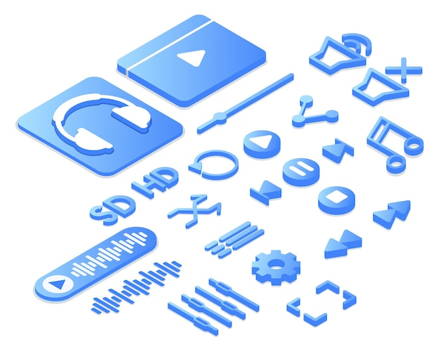 3d-набор иконок музыкального или видео приложения