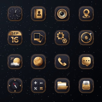 3d icon set with modern golden color