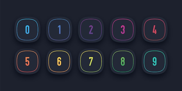 3d icon set with number bullet point from 1 to 10