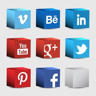 3d icons for social networks