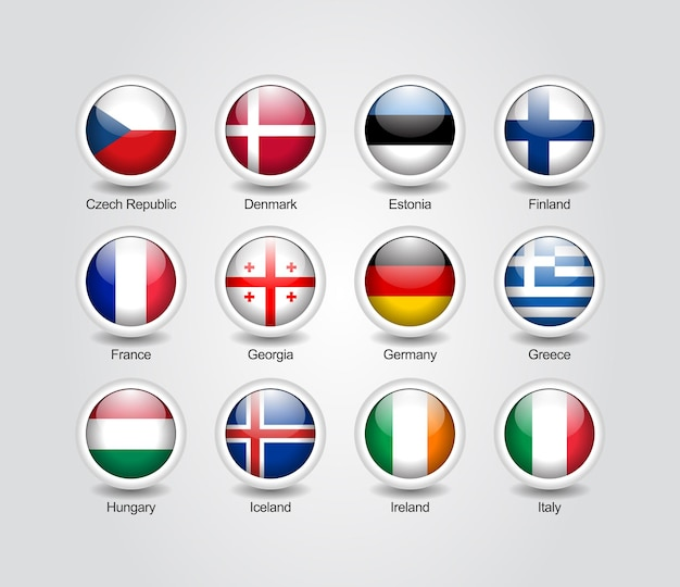 3d icons glossy set for europe countries flags