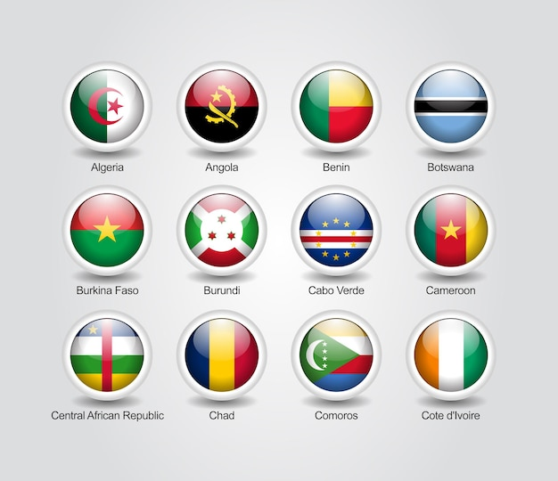 아프리카 국가 플래그에 대 한 3d 아이콘 광택 세트